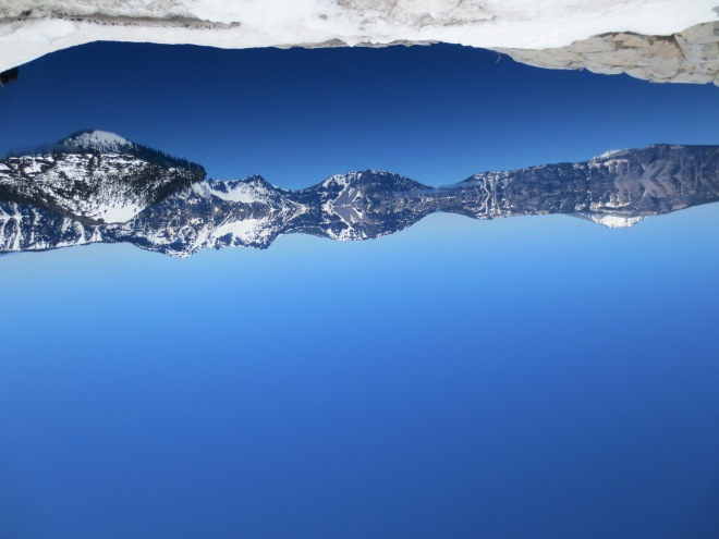 Crater Lake, as seen by a 27-year-old with her head upside down.