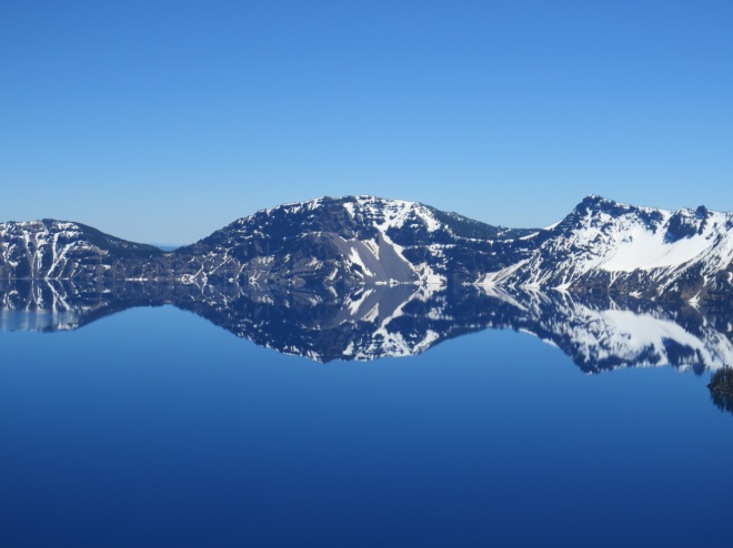 I took dozens of photos like this one while at Crater Lake. I loved the way the reflection of the lake created perfectly symmetrical patterns.