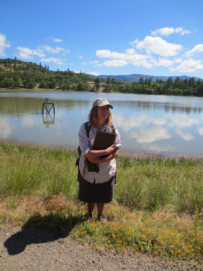 """Our tour guide for a nature walk outside of Ashland. She reminded me of the female camp leader from the film """"Addams Family Values."""" At one point on our tour she saw a bee and referred to it as """"a happy little pollinator."""""""