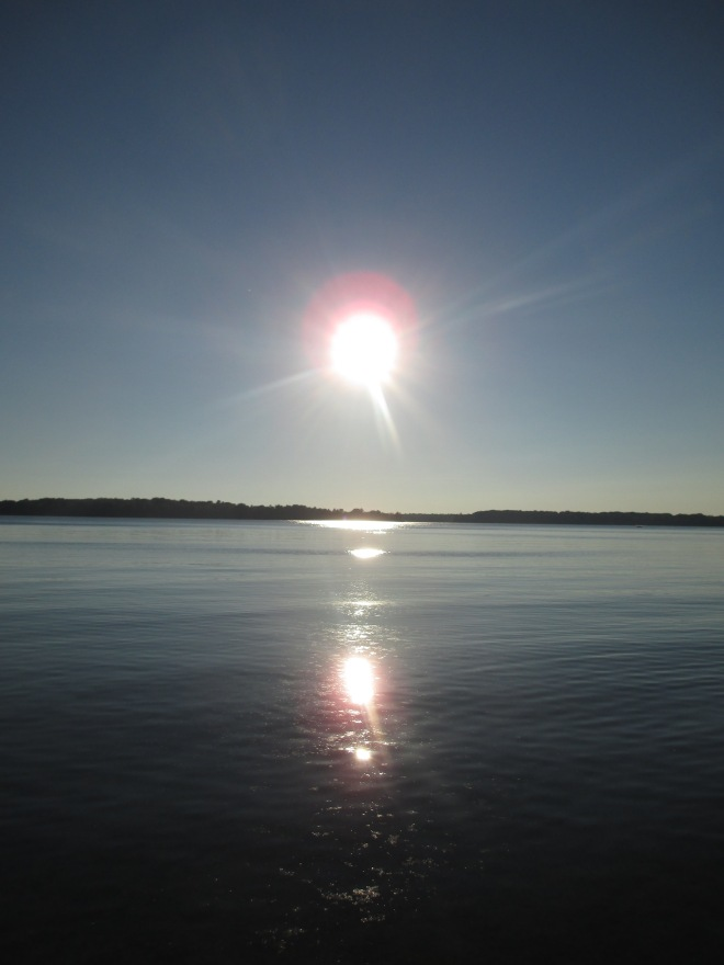 Sun Reflecting on Lake